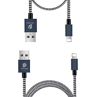 DUX DUCIS 2A USB to 8 Pin Charging Cable Long section 1m + Short Section 0.2m Braided Data Cable(Blue)