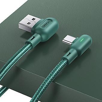 USAMS US-SJ457 U57 USB na USB-C / Typ-C Double Lakeť Farebné lampy nabíjací kábel, Dĺžka: 1.2m (Zelená)