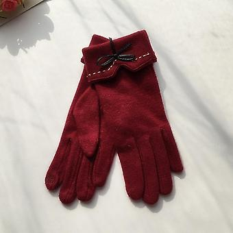 Fashion Elegant Female Wool Touch Screen Gloves Winter Warm Cashmere Full