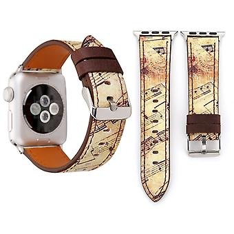 For Apple Watch Series 3 & 2 & 1 38mm Retro Flower Series Yellow Music Score Pattern Wrist Watch Genuine Leather Band