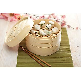 Bamboo Steamer 20 Cm - 2 Tiers And 1 Lid - Quick And Efficient Cooking For Health And Flavour !