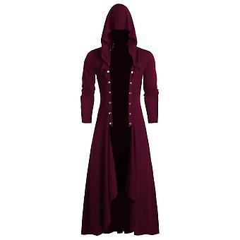 Men Retro Long Steampunk Gothic Wind Cloak Coat, Windbreaker Plain Cap