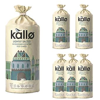 6 x 130g  Kallo Lightly Salted Wholegrain Low Fat Rice Cakes Snack Nibble Food