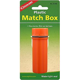 Coghlan's Plastic Match Box Waterproof Case w/ Fire Starter Flint Striker Orange