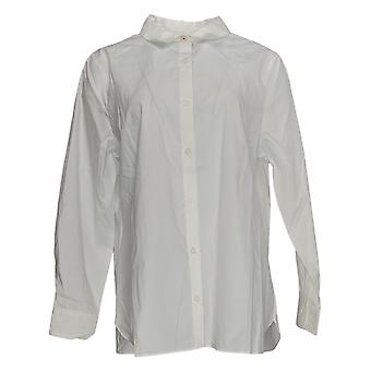 Isaac Mizrahi Live! Women's Top Everything Button Down Shirt White A384564