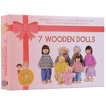 Kids b crafty wooden dolls house dolls family play set of 7 - happy family imagination birthday pres