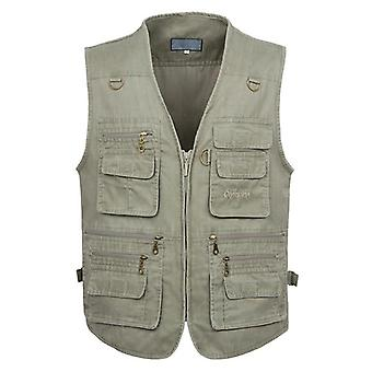 New Casual Cotton Sleeveless Vest With Multi Pocket Photograph Waistcoat