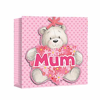 Eurowrap Mothers Day Bear Square Gift Bags (Pack of 12)