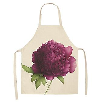 Flower Pattern Kitchen Apron Sleeveless  For Woman Home Cooking Baking Bibs