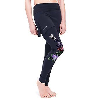 Women's Buddha Mantra Skirt Leggings, Black, Handpainted