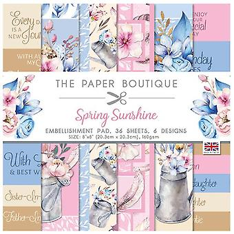 The Paper Boutique - Spring Sunshine Collection - 8x8 Embellishments Pad
