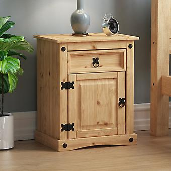 Corona 1 Drawer 1 Door Bedside Cabinet Chest Mexican Solid Waxed Pine