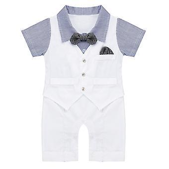 Infant Baby Boys Gentleman Jednodílné horizontální pruhy s krátkým rukávem 0-3 měsíce
