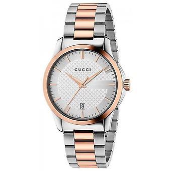 Gucci Ya126473 Srebrny dial Zegarek pasek ze stali nierdzewnej dla mężczyzn