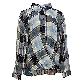 Tolani Women's Top Collection Pullover Plaid With Printed Back Blue A382635