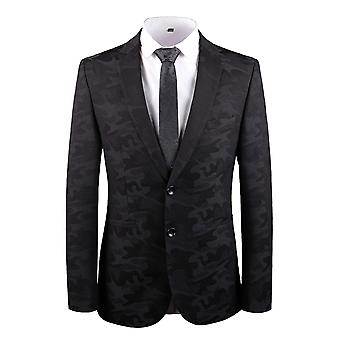 YANGFAN Men's Dress Party Floral Suit Jacket Notched Lapel Slim Fit Two Button Stylish Blazer