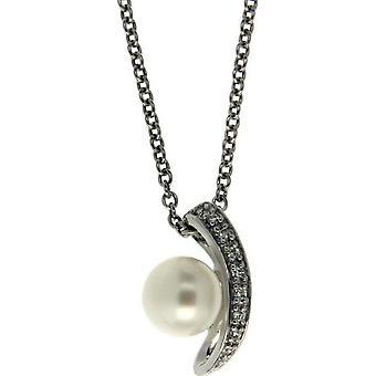 Collar de perlas Adriana con agua dulce colgante 8-9 mm cúbica zirconia cadena de anclaje plata 50 cm S19