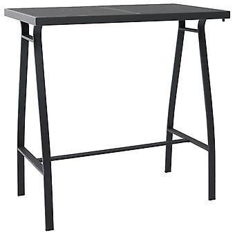 Garden Bar Table Black 110x60x110 Cm Tempered Glass