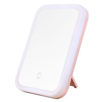 Led makeup mirror illuminated flexible cosmetic table mirror with adjustable light contact screen foldable portable