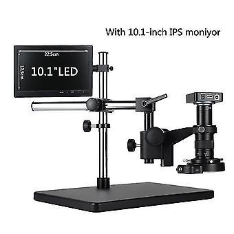 """Säädettävä 38mp 2k hdmi tf video automaattinen tarkennus teollisuus mikroskooppi kamera + 180x c-mount linssi +jalusta +144 led rengas valo +10.1"""" lcd"""