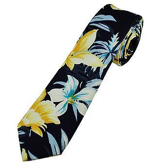 Nyakkendő Planet Navy sárga, fehér és égszínkék nárcisz virág mintás pamut fiúk nyakkendő