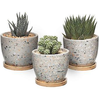 Wokex 10cm Zement Sukkulenten Töpfe Rund mit Untersetzer 3er-Set, Beton Blumentopf Übertopf Klein