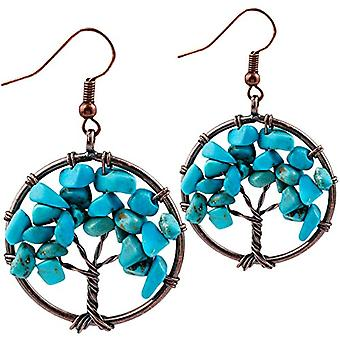 KYEYGWO Women's earrings with tree of life, handmade, with crystal thread and crystals, for girls and League, color: Ref. 0635946998984