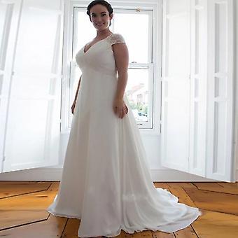 أنيقة كاب كم الخامس الرقبة فستان الزفاف