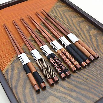 6 Pair set of handmade chestnut wooden chopsticks