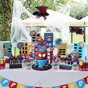 Spider Superhero Cupcake Toppers Decoration Birthday Party Supplies For Favor