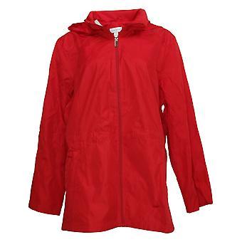 Susan Graver Women's Water Resistant Packable Anorak Jacket Red A374240