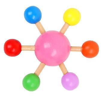 2Pcs rosa dedo top colorido girando top, madeira diversão brinquedo de lazer az12046