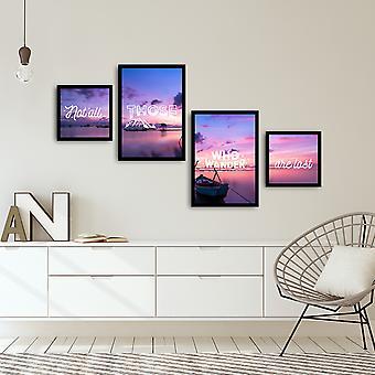 4PSCT-15 Flerfarvet dekorativt indrammet MDF-maleri (4 stykker)