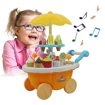 Girl Candy Cart Ice Cream Shop Supermarket Trolley Kids Toys With Light Music
