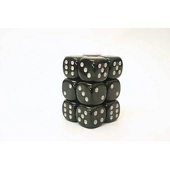 Chessex 16mm D6 Block of 12 - Borealis Smoke/silver