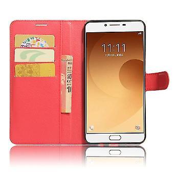 Samsung Galaxy C5 Pro Shockproof Folio Leather Shell Case - Rouge