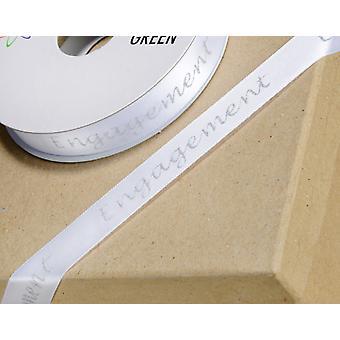 LAST FEW - Ruban blanc 'Engagement' de 10m de 15mm de large avec des mots scintillants argentés pour l'artisanat