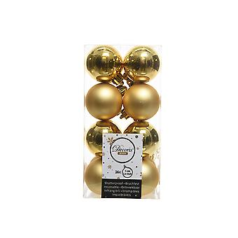 16 Small Gold 4cm Shatterproof Christmas Tree Bauble Decorations