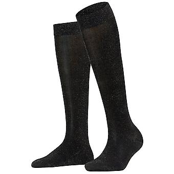 Falke kiiltävä polvi korkea sukat-musta