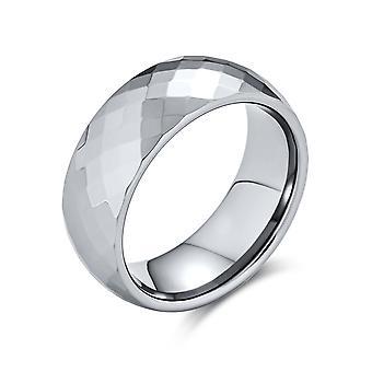 Coppie multi sfaccettato prisma taglio anello da sposa in titanio da uomo per donna Silver Tone Comfort Fit 8MM