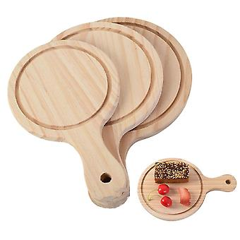 Pizza Tray Wooden Round Pizza Board Cutting Platter Kitchen Baking Tool Handle