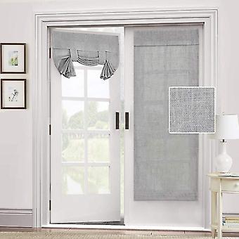 2X dörr gardin naturligt linne blandat - integritet franska dörr gardin ljus glödlampa tricia fönster gardin binda upp skugga, grå