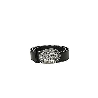 Shuuk Oval Statement Western-Style Buckle Eco-Leather Belt Metal Ball Chain Trim