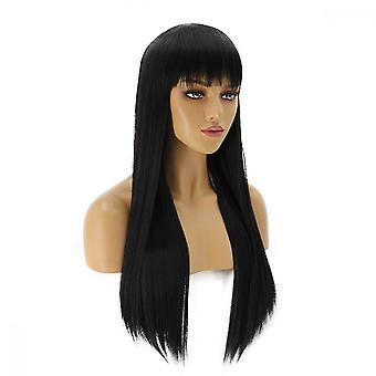 Natural Full Wig Long Straight With Fringe Heat Resistant Hair Cosplay Wigs