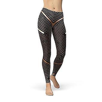 Hosiery womens striped lines sports brown leggings