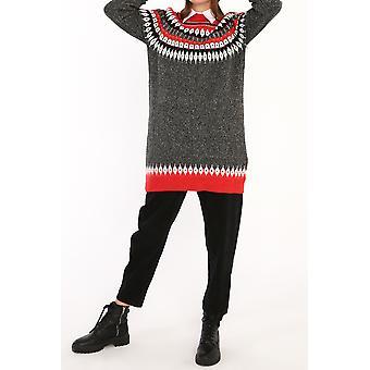 Patterned Raglan Sleeve Knitwear Tunic