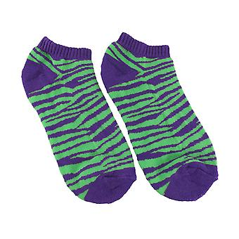 Women`s Purple and Green Zebra Heavy Ankle Socks