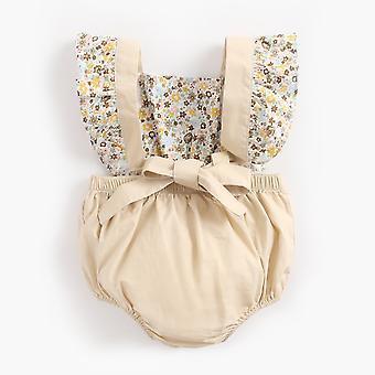 Newborn Baby Girl Suspender Short Sleeve Floral  Bodysuit