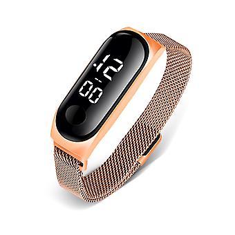 Прямоугольные электронные золотые женские часы