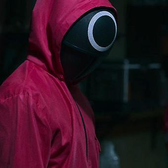 Kalmari peli haalari naamio cosplay puku punainen Halloween party Unisex aikuinen kierros kuusi prop yksi sarja Korealainen tv-sarja M Onlyjumpsuit